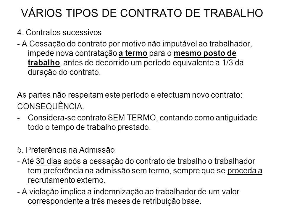VÁRIOS TIPOS DE CONTRATO DE TRABALHO 4. Contratos sucessivos - A Cessação do contrato por motivo não imputável ao trabalhador, impede nova contratação