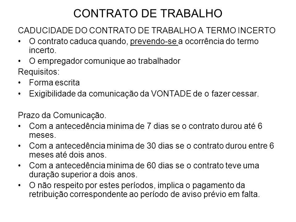 CONTRATO DE TRABALHO CADUCIDADE DO CONTRATO DE TRABALHO A TERMO INCERTO O contrato caduca quando, prevendo-se a ocorrência do termo incerto. O emprega