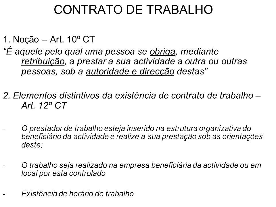 CONTRATO DE TRABALHO 2.Elementos distintivos da existência de contrato de trabalho.