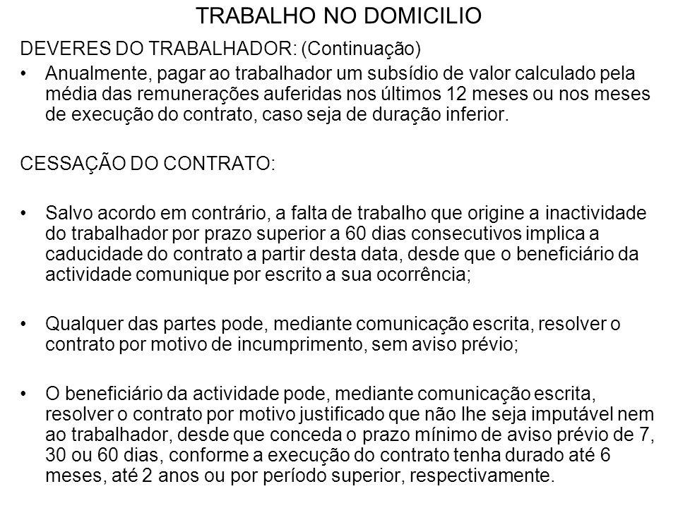 TRABALHO NO DOMICILIO DEVERES DO TRABALHADOR: (Continuação) Anualmente, pagar ao trabalhador um subsídio de valor calculado pela média das remuneraçõe