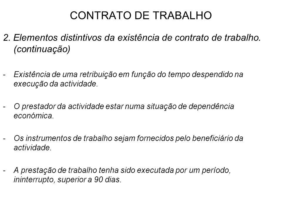 CONTRATO DE TRABALHO 2. Elementos distintivos da existência de contrato de trabalho. (continuação) -Existência de uma retribuição em função do tempo d
