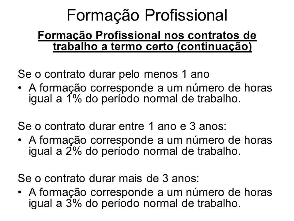 Formação Profissional Formação Profissional nos contratos de trabalho a termo certo (continuação) Se o contrato durar pelo menos 1 ano A formação corr