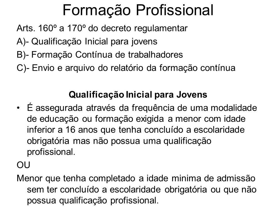 Formação Profissional Arts. 160º a 170º do decreto regulamentar A)- Qualificação Inicial para jovens B)- Formação Contínua de trabalhadores C)- Envio