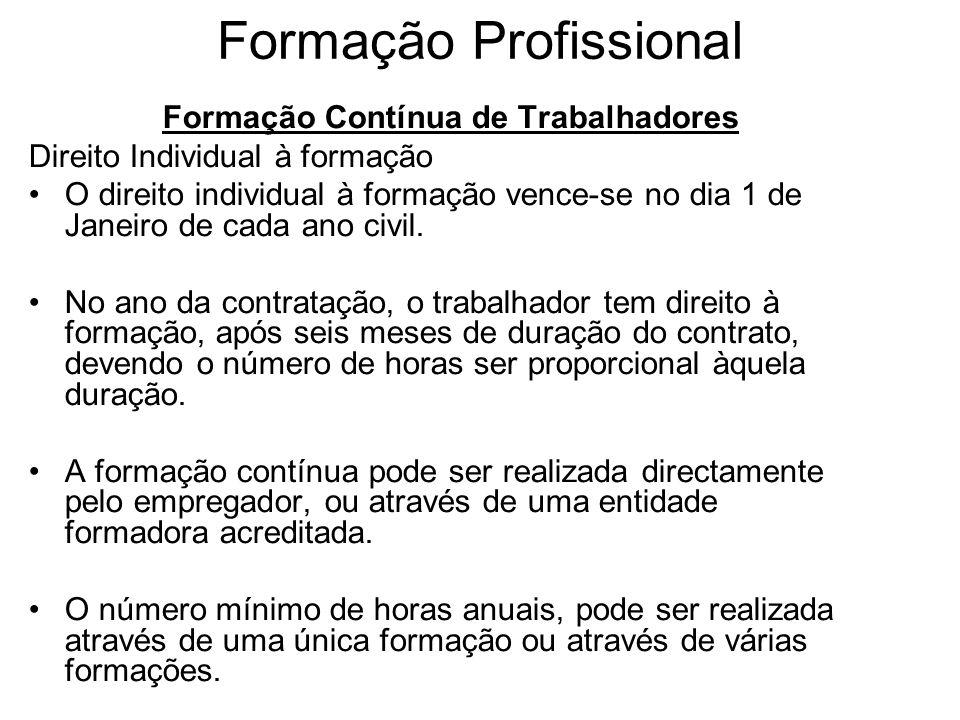 Formação Profissional Formação Contínua de Trabalhadores Direito Individual à formação O direito individual à formação vence-se no dia 1 de Janeiro de