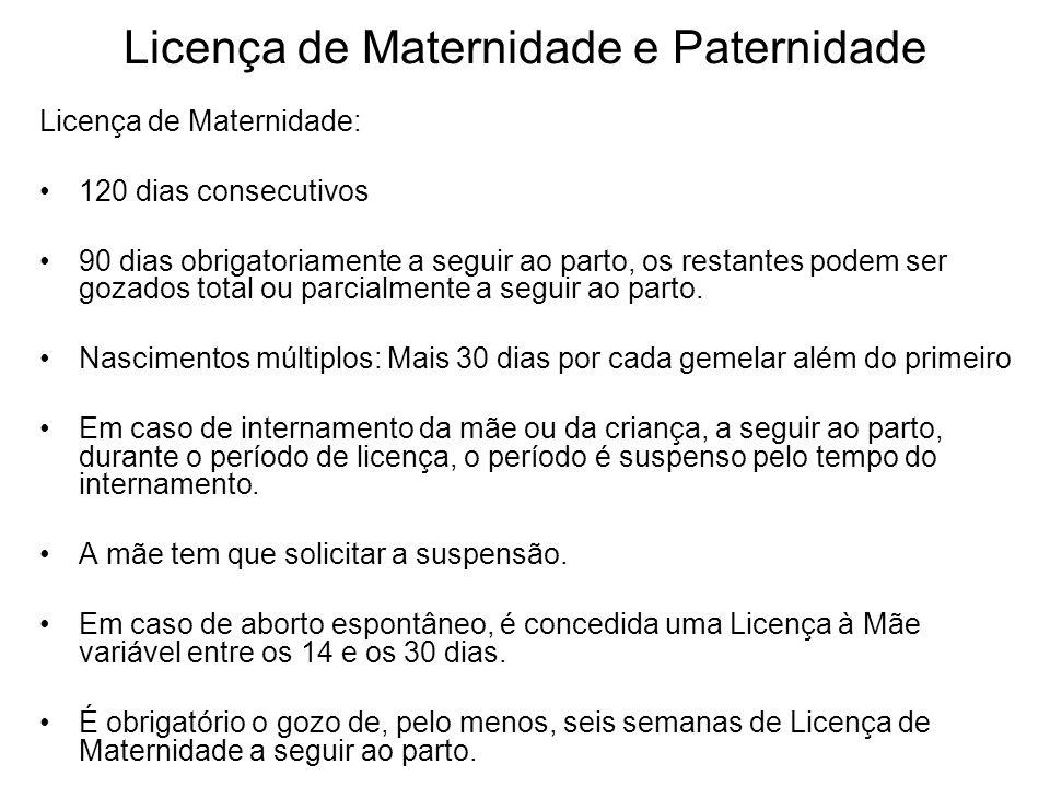 Licença de Maternidade e Paternidade Licença de Maternidade: 120 dias consecutivos 90 dias obrigatoriamente a seguir ao parto, os restantes podem ser