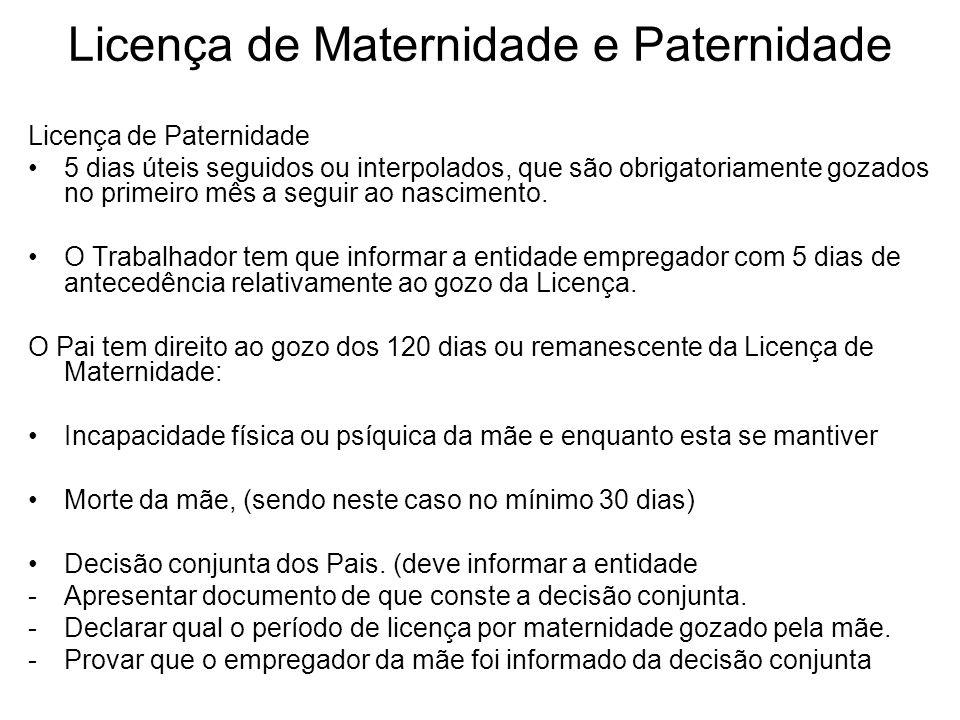 Licença de Maternidade e Paternidade Licença de Paternidade 5 dias úteis seguidos ou interpolados, que são obrigatoriamente gozados no primeiro mês a
