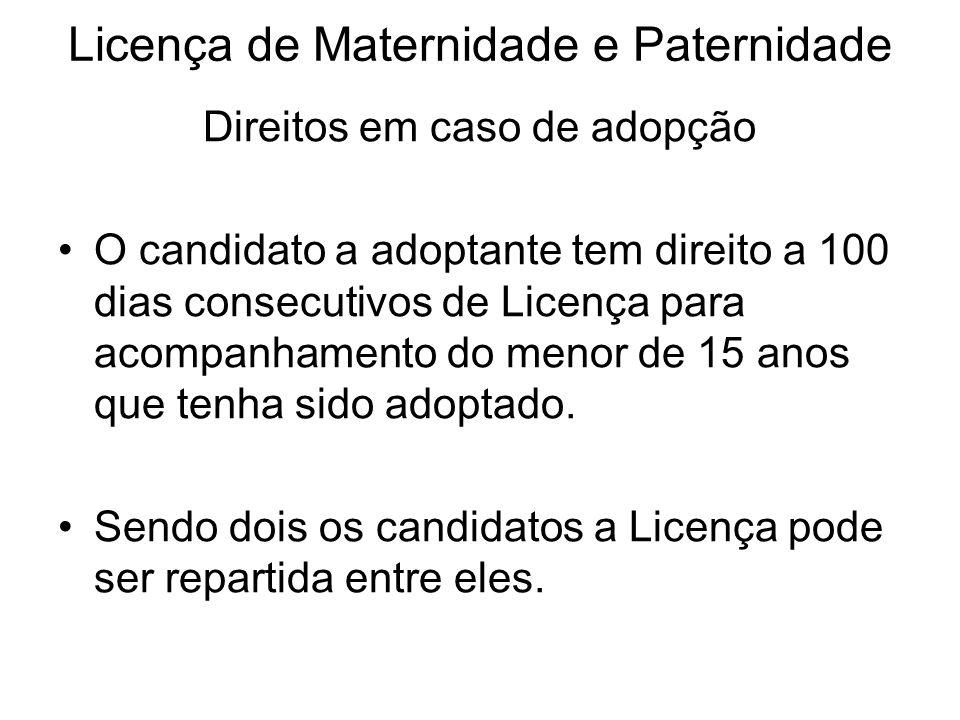 Licença de Maternidade e Paternidade Direitos em caso de adopção O candidato a adoptante tem direito a 100 dias consecutivos de Licença para acompanha