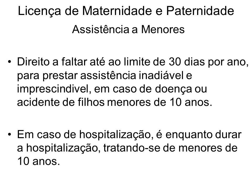 Licença de Maternidade e Paternidade Assistência a Menores Direito a faltar até ao limite de 30 dias por ano, para prestar assistência inadiável e imp