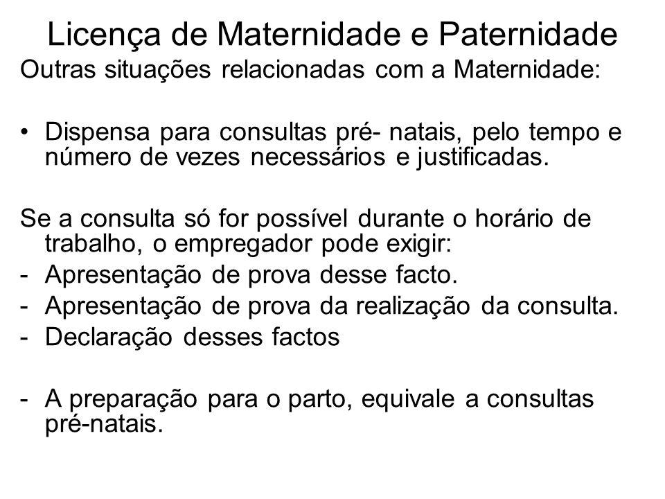 Licença de Maternidade e Paternidade Outras situações relacionadas com a Maternidade: Dispensa para consultas pré- natais, pelo tempo e número de veze