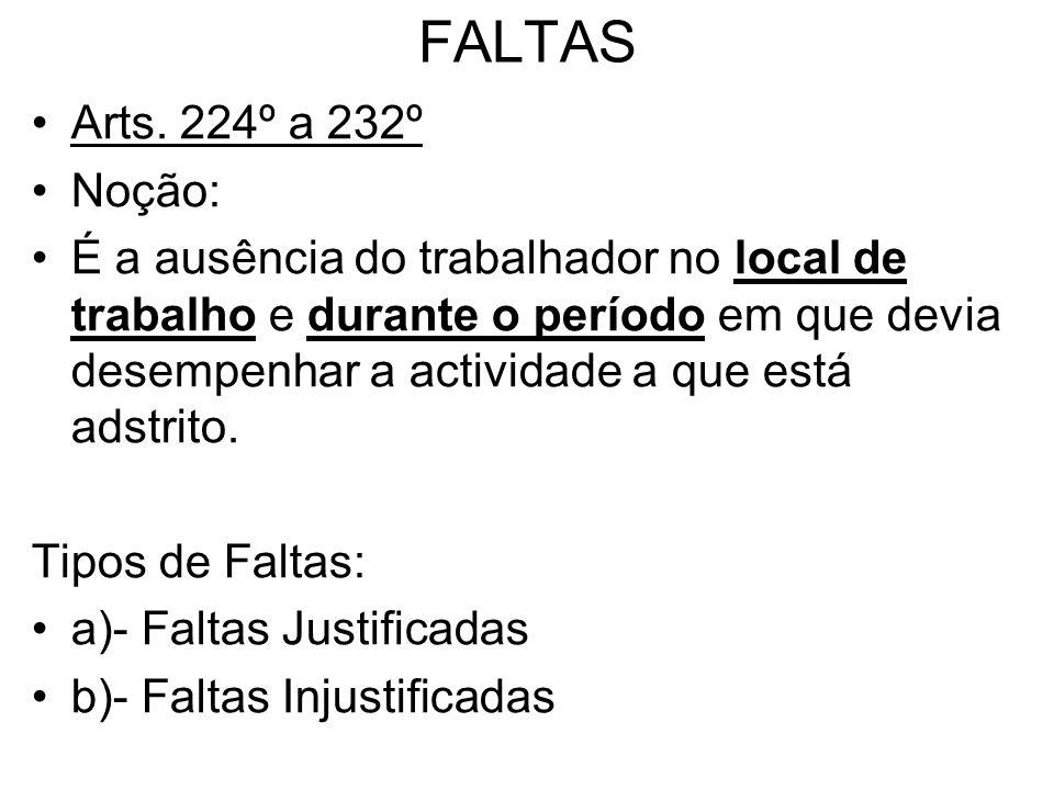 FALTAS Arts. 224º a 232º Noção: É a ausência do trabalhador no local de trabalho e durante o período em que devia desempenhar a actividade a que está