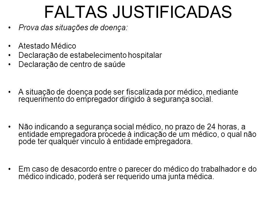 FALTAS JUSTIFICADAS Prova das situações de doença: Atestado Médico Declaração de estabelecimento hospitalar Declaração de centro de saúde A situação d