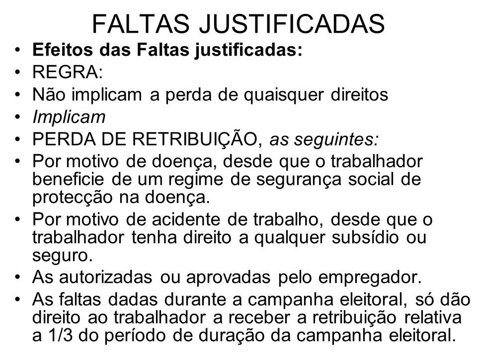 FALTAS JUSTIFICADAS Efeitos das Faltas justificadas: REGRA: Não implicam a perda de quaisquer direitos Implicam PERDA DE RETRIBUIÇÃO, as seguintes: Po