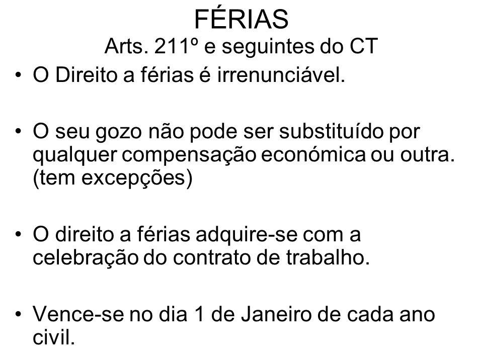 FÉRIAS Arts. 211º e seguintes do CT O Direito a férias é irrenunciável. O seu gozo não pode ser substituído por qualquer compensação económica ou outr