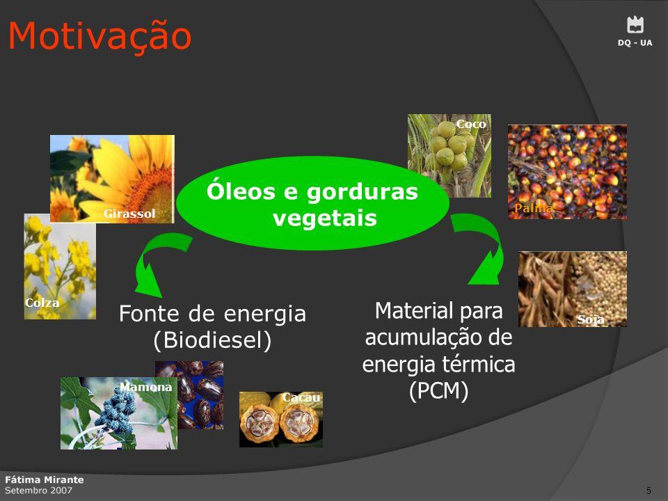 16 Motivação Objectivos Biodiesel Materiais de mudança de fase Amostras estudadas Resultados Conclusões