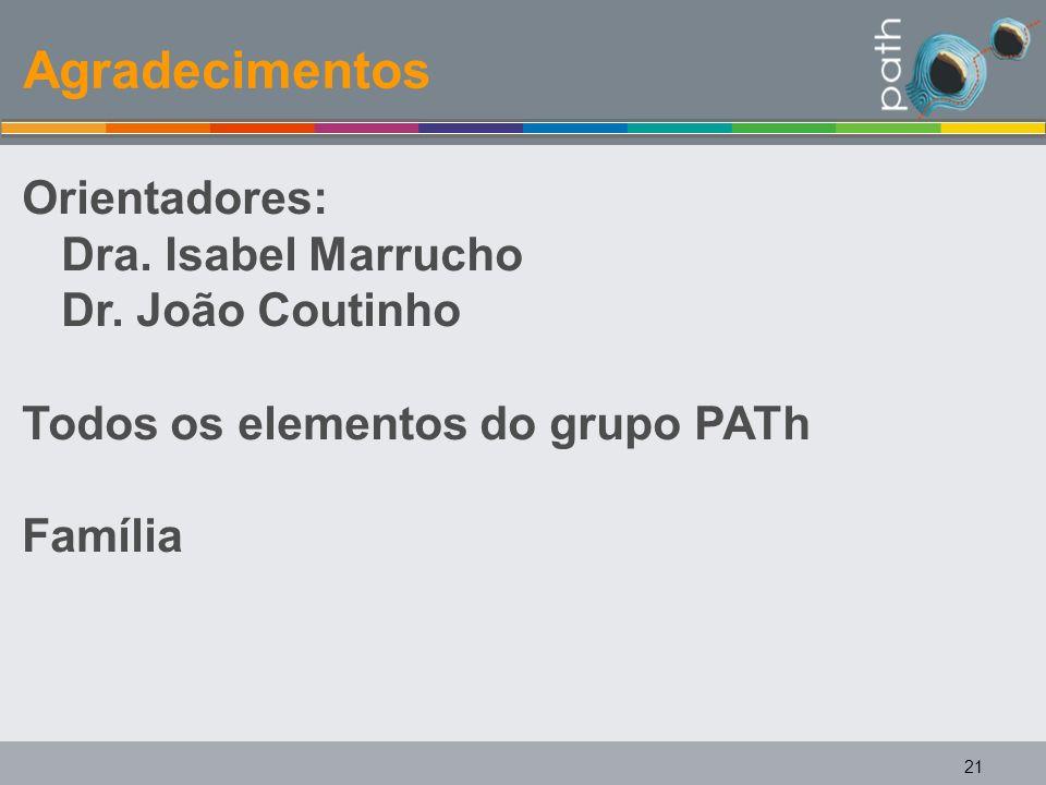 Agradecimentos Orientadores: Dra. Isabel Marrucho Dr. João Coutinho Todos os elementos do grupo PATh Família 21