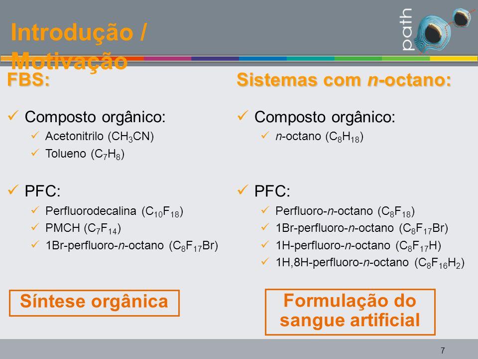 7 FBS: Composto orgânico: Acetonitrilo (CH 3 CN) Tolueno (C 7 H 8 ) PFC: Perfluorodecalina (C 10 F 18 ) PMCH (C 7 F 14 ) 1Br-perfluoro-n-octano (C 8 F