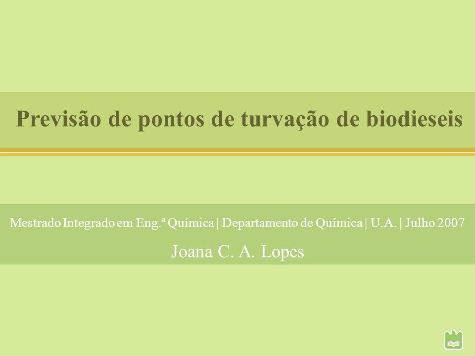 Previsão de pontos de turvação de biodieseis Joana C. A. Lopes Mestrado Integrado em Eng.ª Química   Departamento de Química   U.A.   Julho 2007