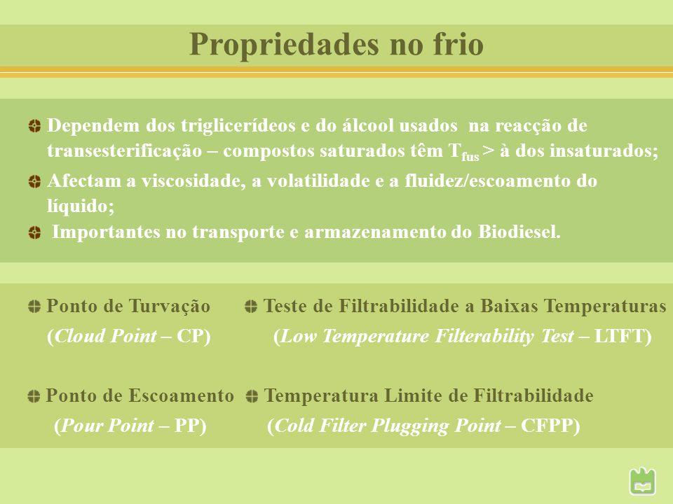 Propriedades no frio Dependem dos triglicerídeos e do álcool usados na reacção de transesterificação – compostos saturados têm T fus > à dos insaturad