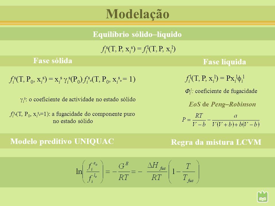 Modelação f i s (T, P 0, x i s ) = x i s i s (P 0 ) f i s º (T, P 0, x i s º = 1) f i s (T, P, x i s ) = f i l (T, P, x i l ) Equilíbrio sólido–líquid