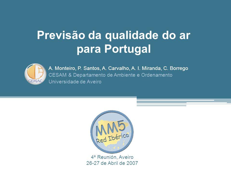 A. Monteiro, P. Santos, A. Carvalho, A. I. Miranda, C. Borrego CESAM & Departamento de Ambiente e Ordenamento Universidade de Aveiro Previsão da quali