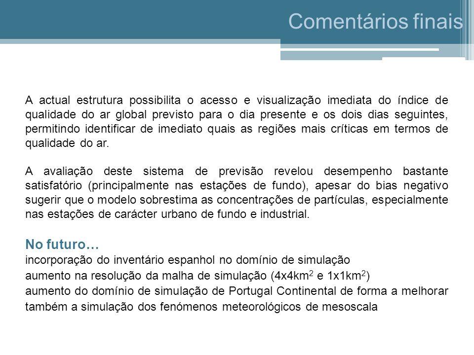 Comentários finais A actual estrutura possibilita o acesso e visualização imediata do índice de qualidade do ar global previsto para o dia presente e