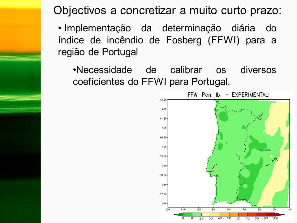 Implementação da determinação diária do índice de incêndio de Fosberg (FFWI) para a região de Portugal Necessidade de calibrar os diversos coeficiente
