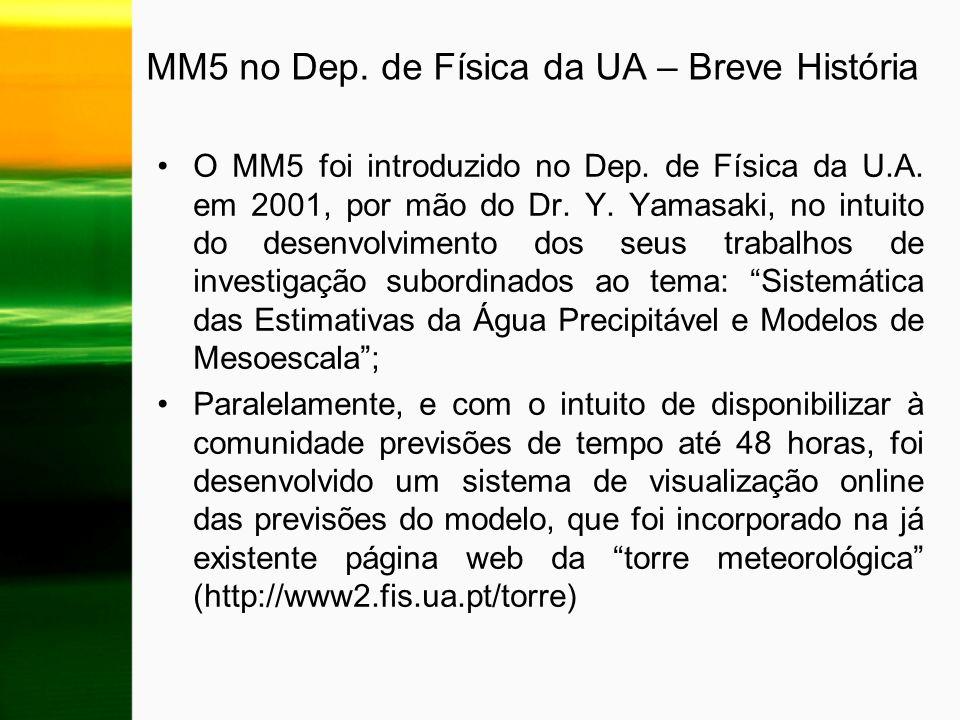 MM5 no Dep. de Física da UA – Breve História O MM5 foi introduzido no Dep. de Física da U.A. em 2001, por mão do Dr. Y. Yamasaki, no intuito do desenv