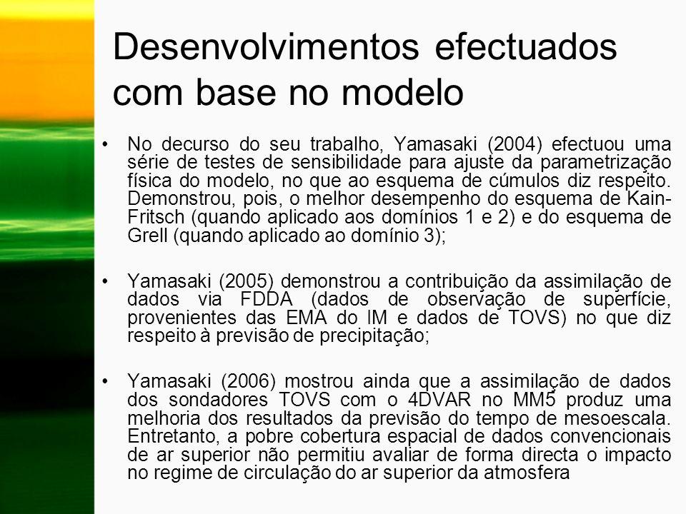 Desenvolvimentos efectuados com base no modelo No decurso do seu trabalho, Yamasaki (2004) efectuou uma série de testes de sensibilidade para ajuste d