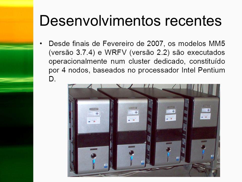 Desenvolvimentos recentes Desde finais de Fevereiro de 2007, os modelos MM5 (versão 3.7.4) e WRFV (versão 2.2) são executados operacionalmente num clu