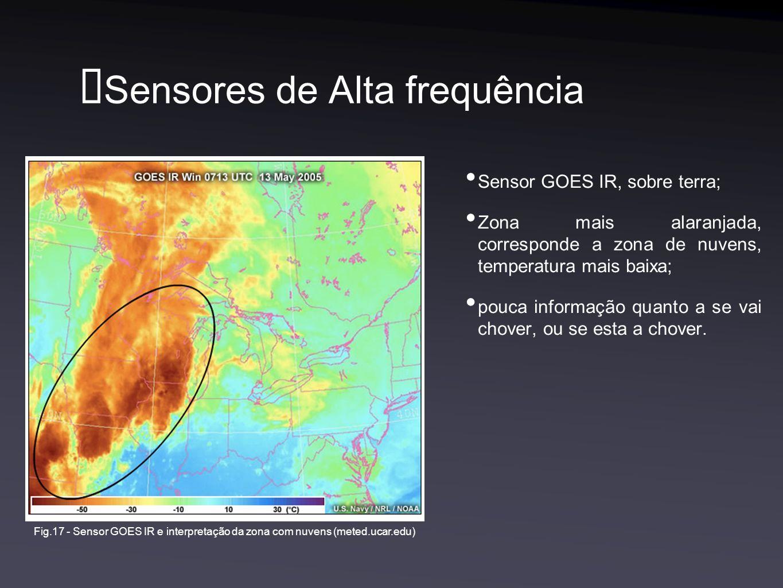 Sensores de Alta frequência Sensor GOES IR, sobre terra; Zona mais alaranjada, corresponde a zona de nuvens, temperatura mais baixa; pouca informação