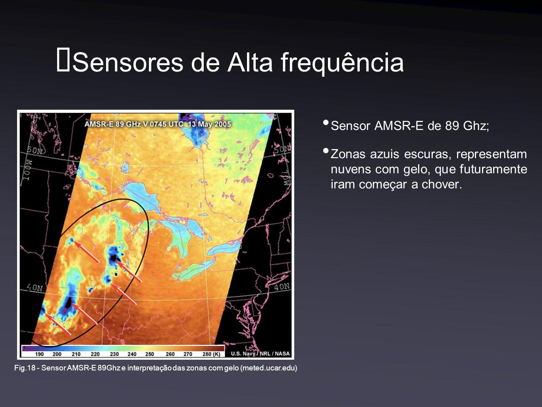 Sensores de Alta frequência Sensor AMSR-E de 89 Ghz; Zonas azuis escuras, representam nuvens com gelo, que futuramente iram começar a chover.