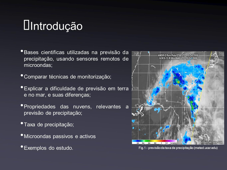 Introdução Bases cientificas utilizadas na previsão da precipitação, usando sensores remotos de microondas; Comparar técnicas de monitorização; Explicar a dificuldade de previsão em terra e no mar, e suas diferenças; Propriedades das nuvens, relevantes a previsão de precipitação; Taxa de precipitação; Microondas passivos e activos Exemplos do estudo.