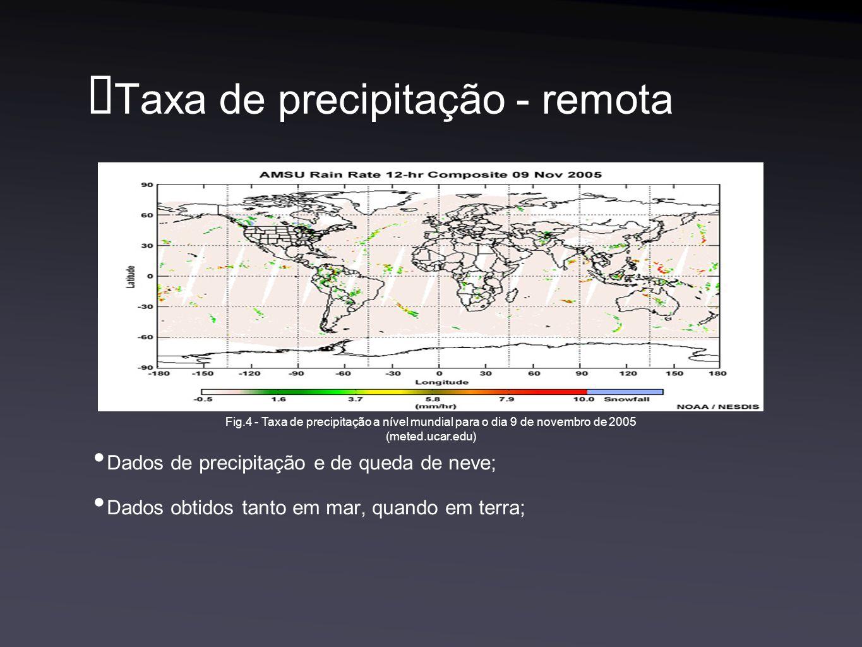 Taxa de precipitação - remota Dados de precipitação e de queda de neve; Dados obtidos tanto em mar, quando em terra; Fig.4 - Taxa de precipitação a nível mundial para o dia 9 de novembro de 2005 (meted.ucar.edu)