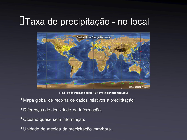 Taxa de precipitação - no local Mapa global de recolha de dados relativos a precipitação; Diferenças de densidade de informação; Oceano quase sem informação; Unidade de medida da precipitação mm/hora.