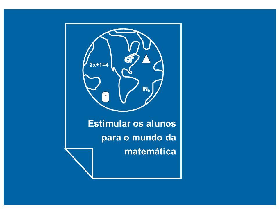 Estimular os alunos para o mundo da matemática 2x+1=4 IN 0