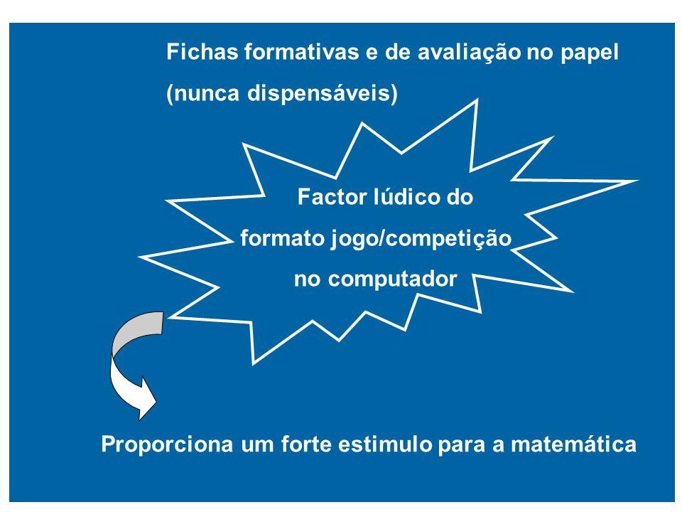 Fichas formativas e de avaliação no papel (nunca dispensáveis) Factor lúdico do formato jogo/competição no computador Proporciona um forte estimulo pa