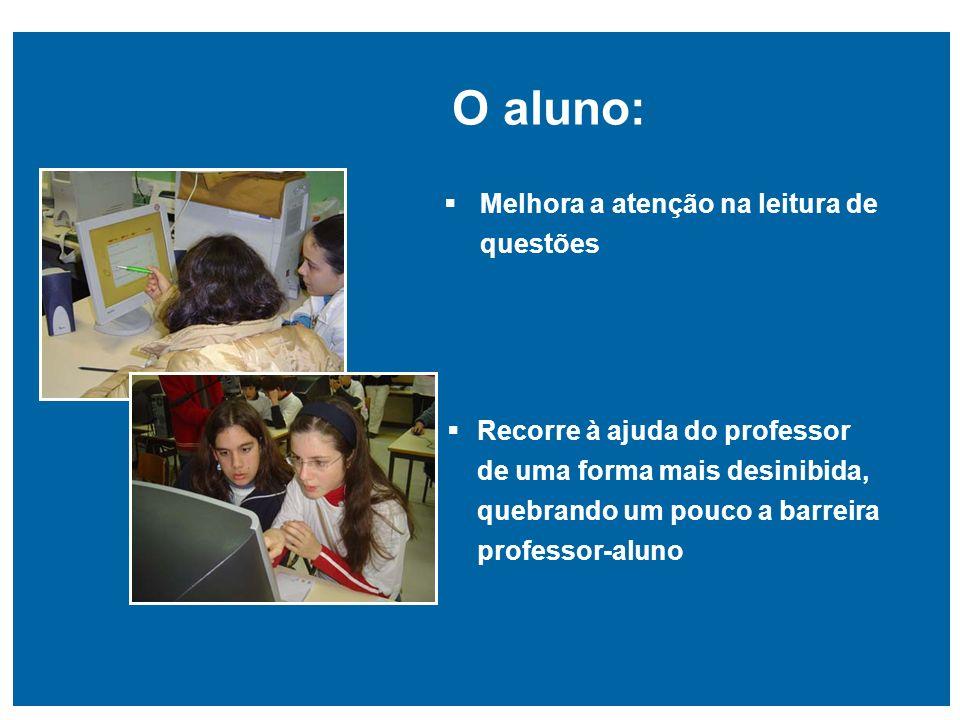 Recorre à ajuda do professor de uma forma mais desinibida, quebrando um pouco a barreira professor-aluno O aluno: Melhora a atenção na leitura de ques