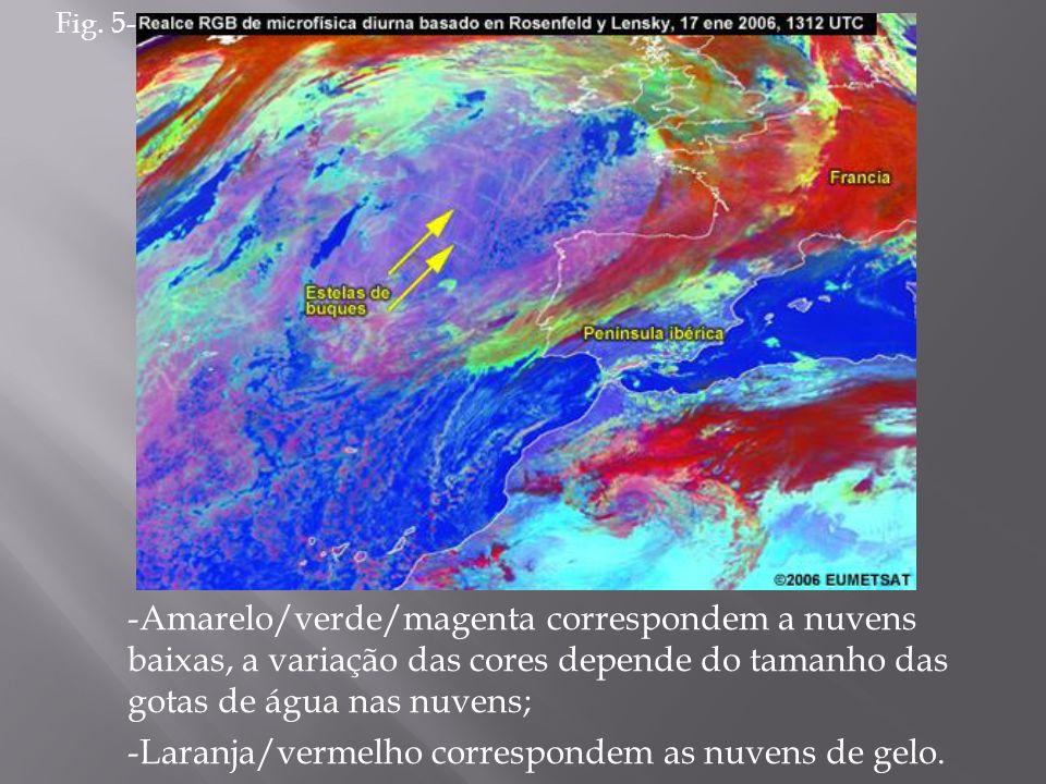 -Amarelo/verde/magenta correspondem a nuvens baixas, a variação das cores depende do tamanho das gotas de água nas nuvens; -Laranja/vermelho correspon