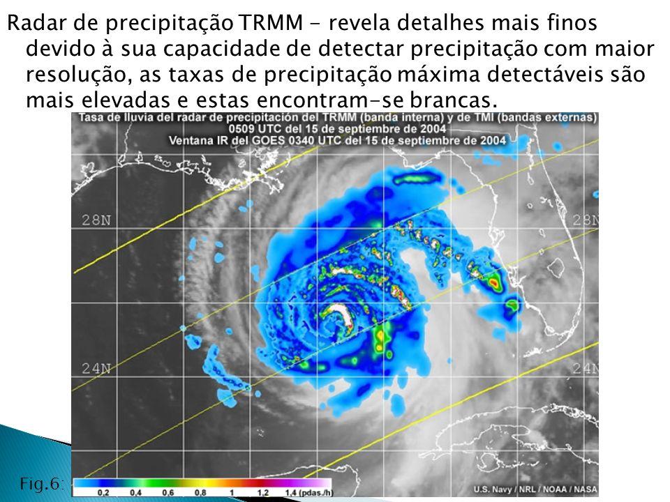 Radar de precipitação TRMM - revela detalhes mais finos devido à sua capacidade de detectar precipitação com maior resolução, as taxas de precipitação