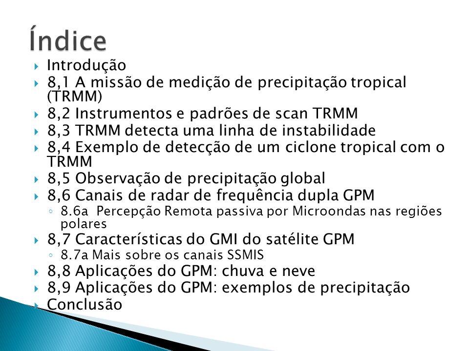 Introdução 8,1 A missão de medição de precipitação tropical (TRMM) 8,2 Instrumentos e padrões de scan TRMM 8,3 TRMM detecta uma linha de instabilidade