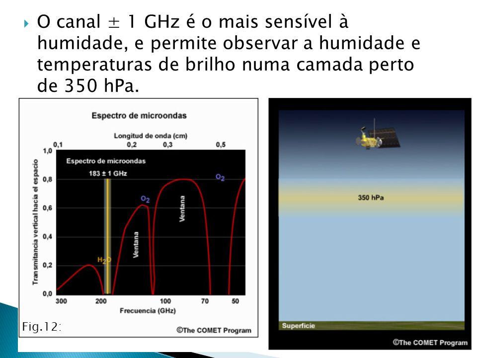 O canal ± 1 GHz é o mais sensível à humidade, e permite observar a humidade e temperaturas de brilho numa camada perto de 350 hPa. Fig.12: