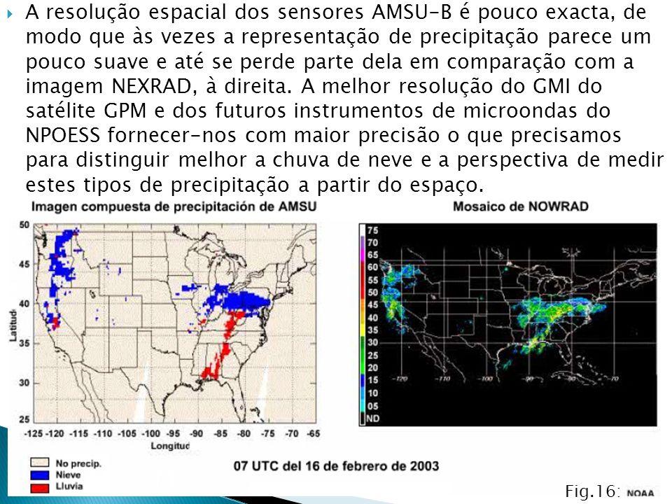 A resolução espacial dos sensores AMSU-B é pouco exacta, de modo que às vezes a representação de precipitação parece um pouco suave e até se perde par