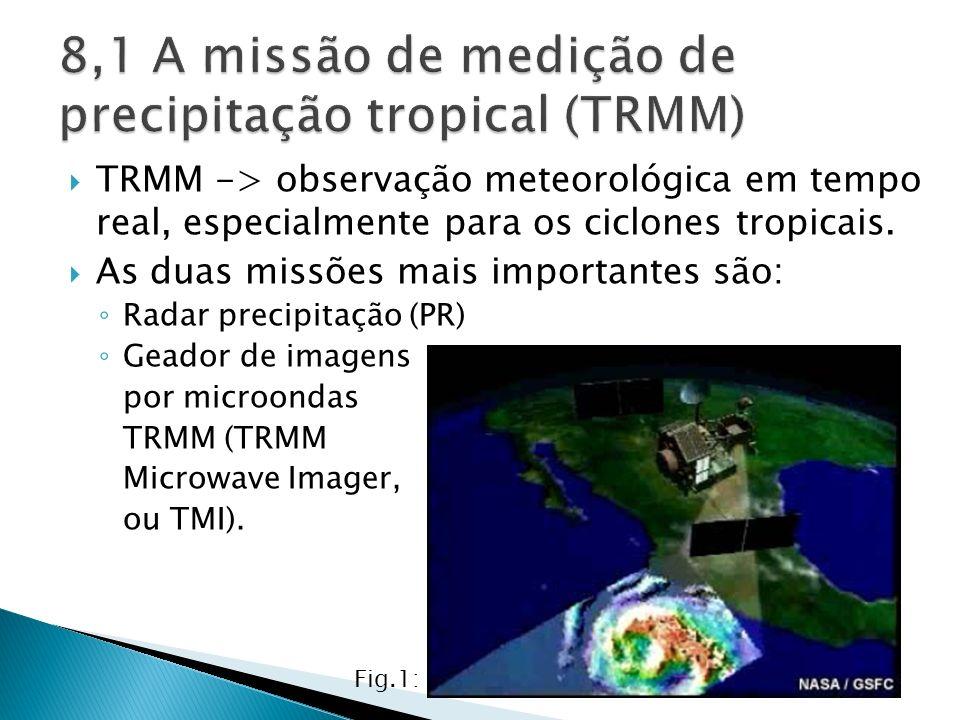 TRMM -> observação meteorológica em tempo real, especialmente para os ciclones tropicais. As duas missões mais importantes são: Radar precipitação (PR