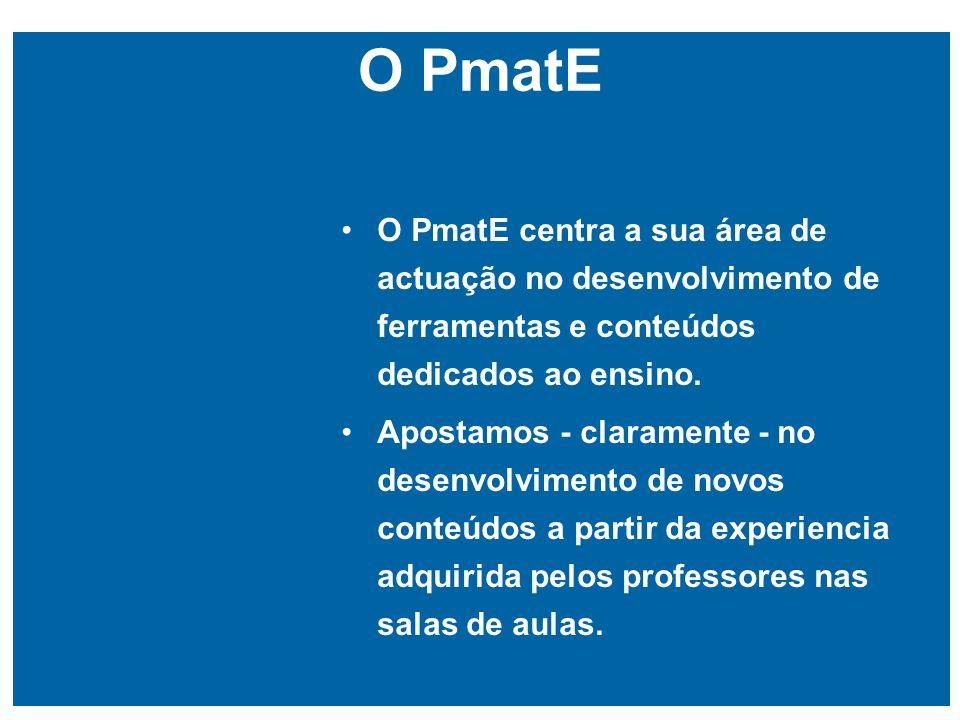 O PmatE O PmatE centra a sua área de actuação no desenvolvimento de ferramentas e conteúdos dedicados ao ensino.