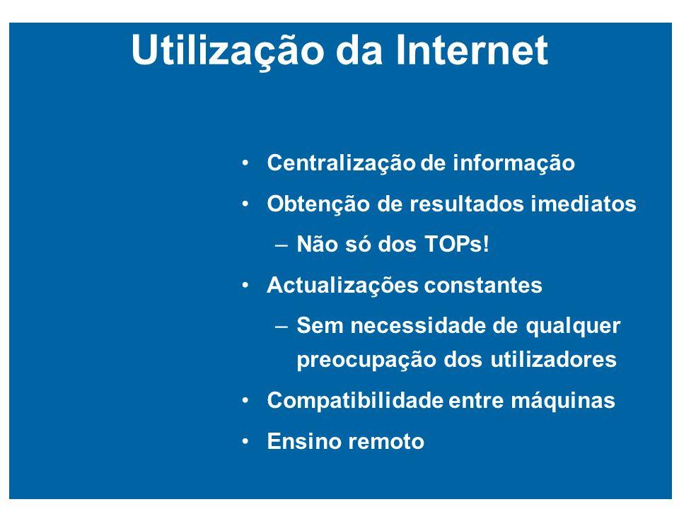 Utilização da Internet Centralização de informação Obtenção de resultados imediatos –Não só dos TOPs.