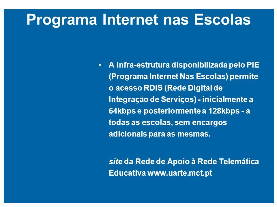 Programa Internet nas Escolas A infra-estrutura disponibilizada pelo PIE (Programa Internet Nas Escolas) permite o acesso RDIS (Rede Digital de Integração de Serviços) - inicialmente a 64kbps e posteriormente a 128kbps - a todas as escolas, sem encargos adicionais para as mesmas.