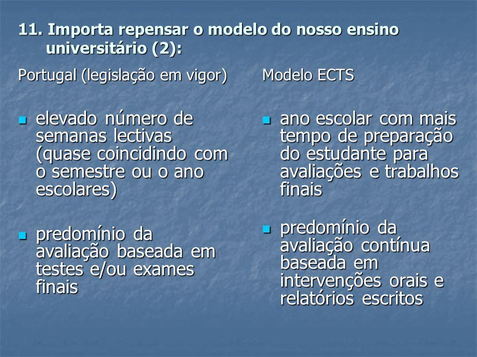 11. Importa repensar o modelo do nosso ensino universitário (2): Portugal (legislação em vigor) elevado número de semanas lectivas (quase coincidindo
