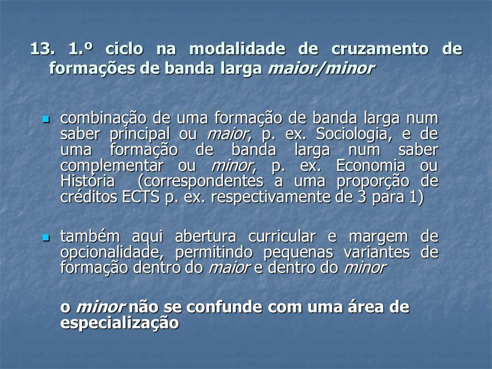 13. 1.º ciclo na modalidade de cruzamento de formações de banda larga maior/minor combinação de uma formação de banda larga num saber principal ou mai