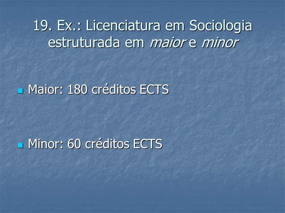 19. Ex.: Licenciatura em Sociologia estruturada em maior e minor Maior: 180 créditos ECTS Maior: 180 créditos ECTS Minor: 60 créditos ECTS Minor: 60 c