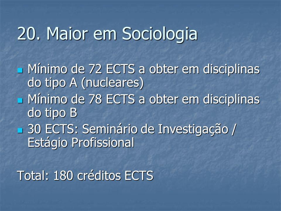 20. Maior em Sociologia Mínimo de 72 ECTS a obter em disciplinas do tipo A (nucleares) Mínimo de 72 ECTS a obter em disciplinas do tipo A (nucleares)